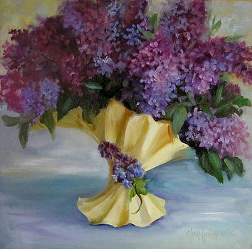 Lilac Bouquet in Vintage Vase by Cheri Wollenberg