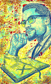 Malcolm X Drawing In Lines by Kenal Louis