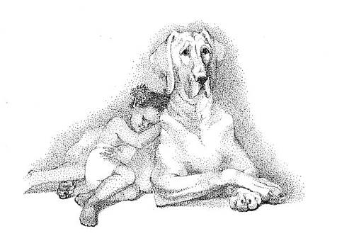 Nap time. Dog and a girl. Stippling. by Alena Nikifarava
