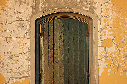 Old Wooden door with cracks on the wall by Kiril Stanchev