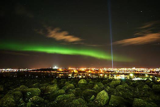 Reykjavik City and Aurora borealis by Petur Mar Gunnarsson