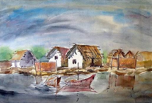 River Bank Painting by Hashim Khan