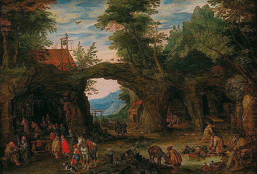 Rocky Landscape with a Mass by Jan Brueghel