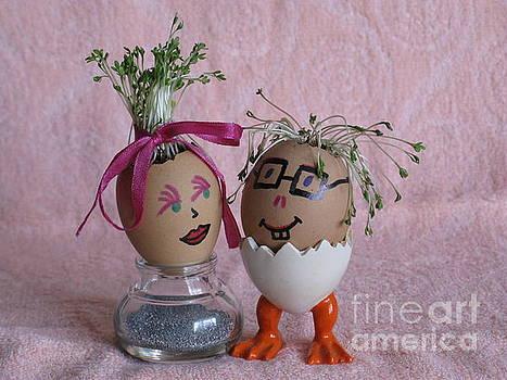 Romantic Easter couple on Pink. Eggmen or Egg With Hair Series by Ausra Huntington nee Paulauskaite