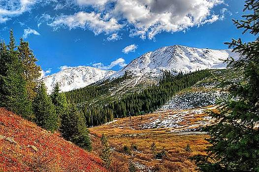 Snow covered mountains near Independence Pass by Steve Barge