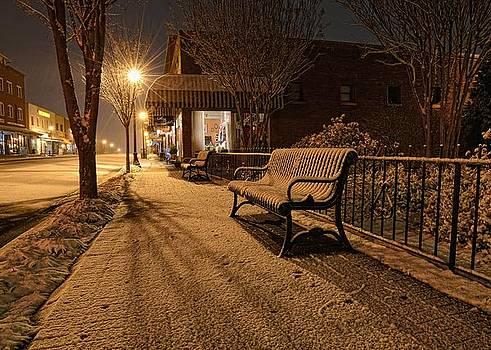 Snowy Delight... Main Street Lights by Eric Haggart