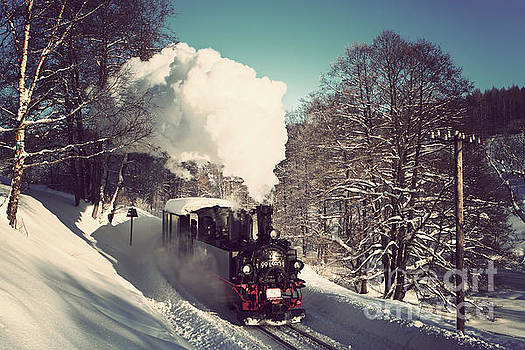 Steam train in freezing temperatures by Christian Spiller