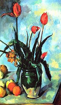 Tulips In A Vase by Paul Cezanne