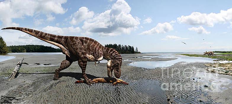 Tyrannosaurus enjoying seafood - wide format by Julius Csotonyi