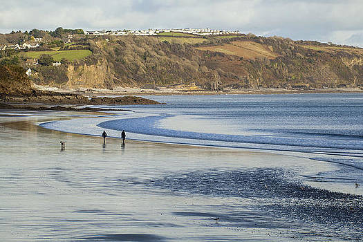 Walking the Dog on Saundersfoot Beach by Simon West