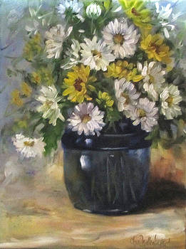 White and Yellow Daisies Still Life by Cheri Wollenberg