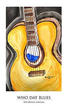 WHO DAT Blues Print by Ryan D Merrill
