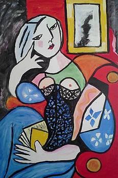 Woman Reading a Book by Carol Duarte