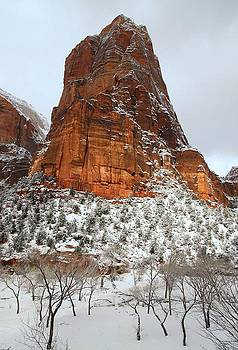 Zion monolith in snow by Jetson Nguyen