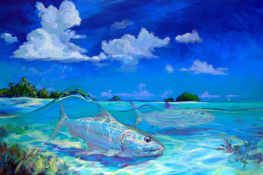 A Place I'd Rather Be - Caribbean Bonefish Fly Fishing Painting by Savlen Art