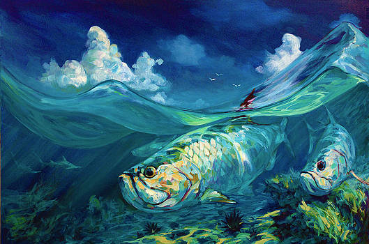 A Place I'd Rather Be - Caribbean Tarpon Fish Fly Fishing Painting by Savlen Art