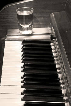 James BO  Insogna -  A shot of Bourbon Whiskey and The BW Piano Ivory Keys in Sepia
