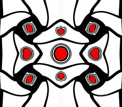 Abstract Geometric Black White Red Art No. 380. by Drinka Mercep