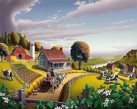 Appalachian Blackberry Patch Rustic Country Farm Folk Art Landscape - Rural Americana - Peaceful by Walt Curlee