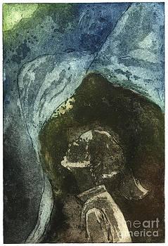 Dreamtime - Daydream - Dream - Reverie - Girl - Profile - Etching - fine art print - stock image by Urft Valley Art