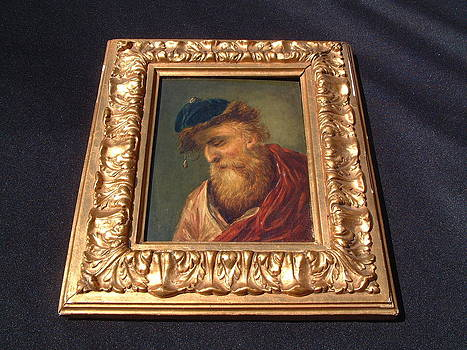 Eastern European oil painting on wood featuring a bearded man by Anonymous artist