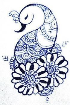 Mehndi peacock by Jessica Petty
