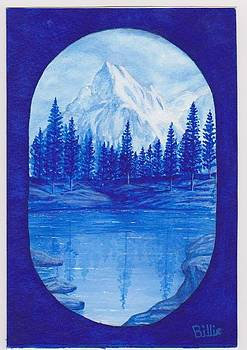 Mountain and lake in Blue by Billie Bowles