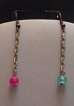 Pink and Blue Silver Chain Earrings by Kimberly Johnson