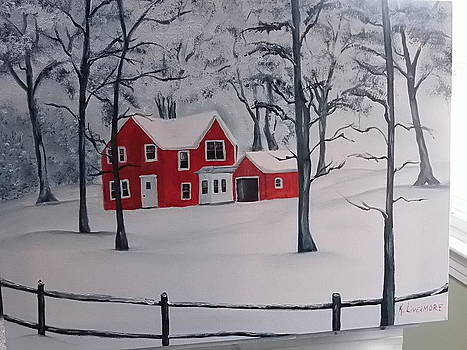 Red house in the snow by Kathy Livermore