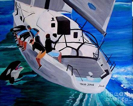 Sailboat with an Orca by Jayne Kerr
