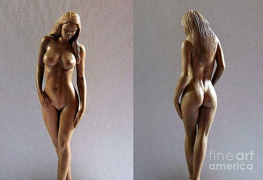 Wood Sculpture of Naked Woman by Carlos Baez Barrueto