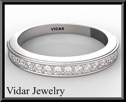 Beautiful Diamond Half Eternity 14k White Gold Woman Wedding Ring by Roi Avidar