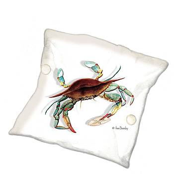Blue Crab Pillow by Anne Beverley-Stamps