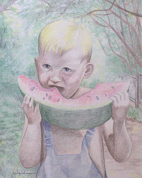 Boy with Watermelon by Kathy Weidner