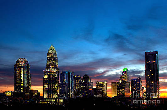 Charlotte NC downtown at dusk by Patrick Schneider