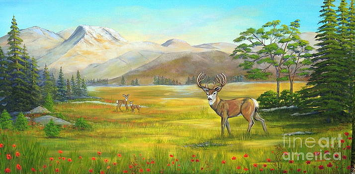 Deer In Field Of Poppies by Julissie Saltzberg