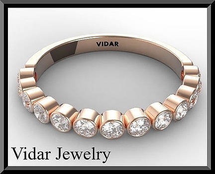 Diamond Half Eternity 14k Rose Gold Woman Wedding Ring by Roi Avidar