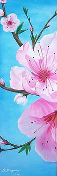 #1 Diptych   Peach Tree in Bloom by Sharon Duguay