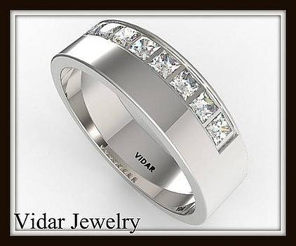 Elegant Princess Cut Diamond 14k White Gold Men Wedding Ring by Roi Avidar