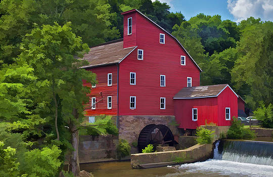 David Letts - Faded Red Water Mill on the Dam of the Raritan River