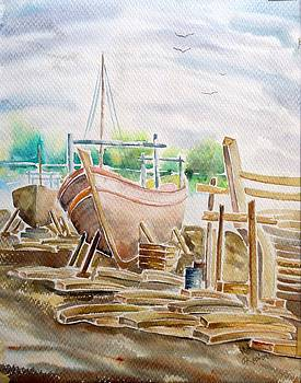 Harboured Boat Painting by Hashim Khan