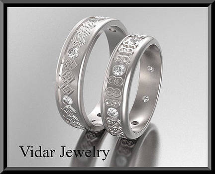 His And Hers Matching Diamond And 14kt White Gold Wedding Band Set by Roi Avidar