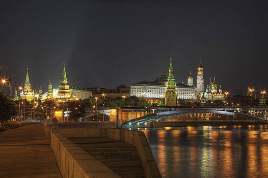 Moscow Night Skyline by Magomed Magomedagaev