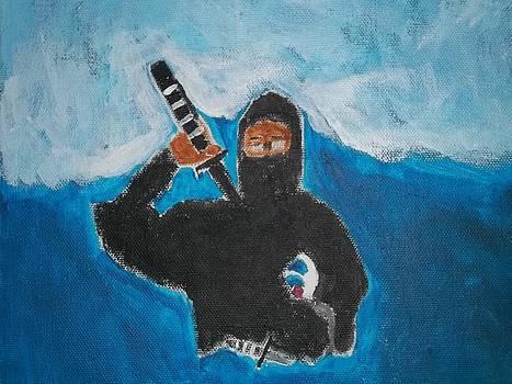 Ninja Acrylic Painting by William Sahir House