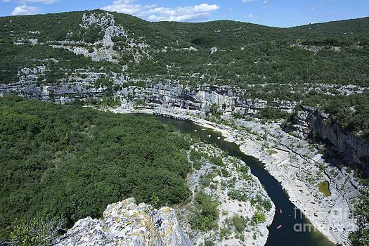 BERNARD JAUBERT - oing down Ardeche River on canoe. Ardeche. France