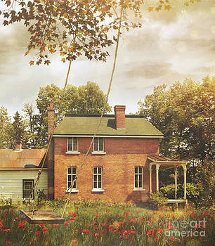 Sandra Cunningham - Old vintage farmhouse with swing