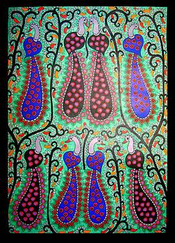 Peacocks-Madhubani Painting by Neeraj kumar Jha