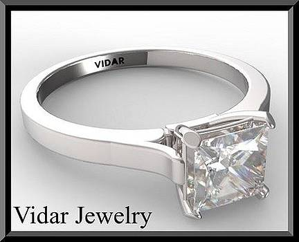 Princess Cut Diamond 14k White Gold Engagement Ring  by Roi Avidar