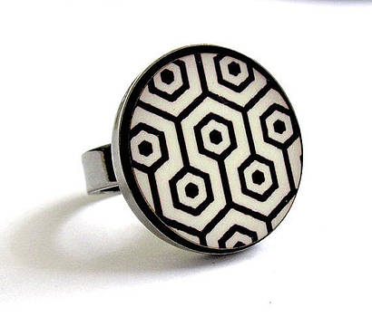 Retro Dreams In Black And White Ring by Rony Bank