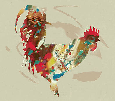 Rooster Stylised Pop Art Drawing Portrait Poster by Kim Wang